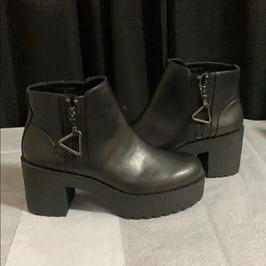 Black Leather Platform Boots